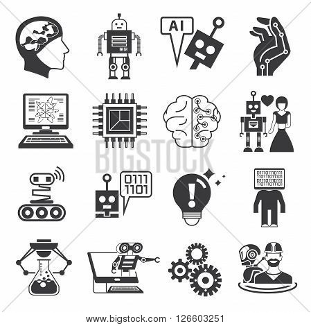 collection of 16 robot artificial intelligence icons solid theme
