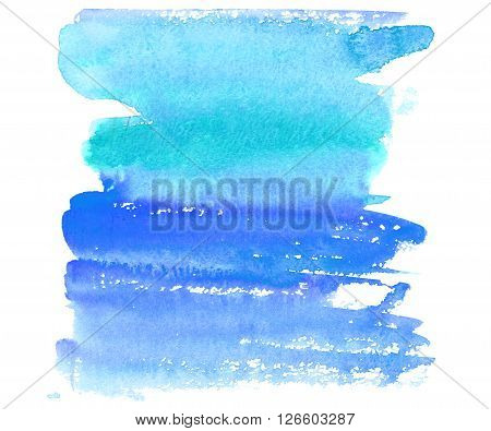 Hand drawn watercolor wash. Colorful paint stain. Vertical background in blue and turquoise. Grunge design element. Early morning sky and seaside.