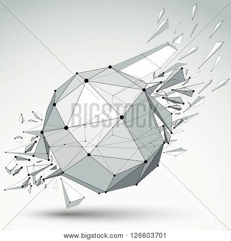 3d vector low poly object with black connected lines and dots geometric wireframe shape with refractions. Spherical perspective shattered form.