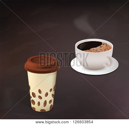 Different types of  aroma coffee in cups