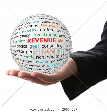 Revenue concept. Hand take white sphere with big red inscription Revenue .