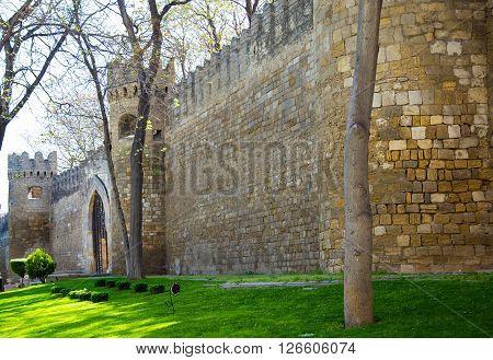 Maiden's Tower in Baku city, spring day
