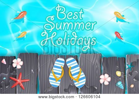 Hot summer vacation retro background with starfish, fishes, tranquil sea, flowers, flipflops and text. File is layered with global colors.