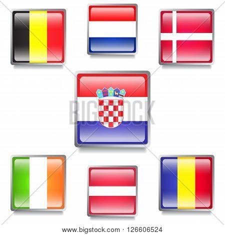 Seven Colorful European Countries Flags Made as Glossy Web Buttons with Grey Frames