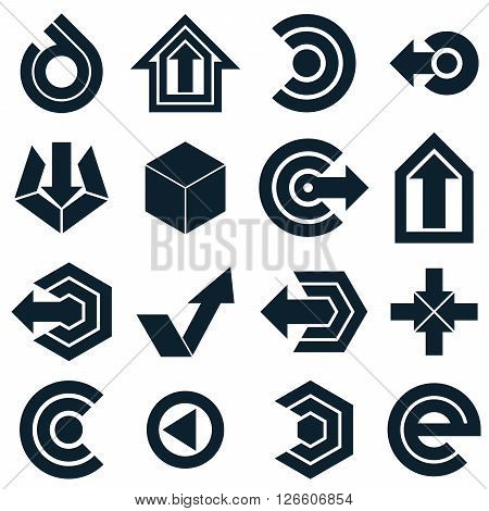 Geometric abstract vector shapes. Collection of black arrows monochrome navigation pictograms and multimedia signs for use in web and graphic design.