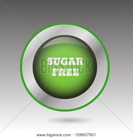 Big Sugar Free Green Button  Symbol Vector Eps10 Illustration