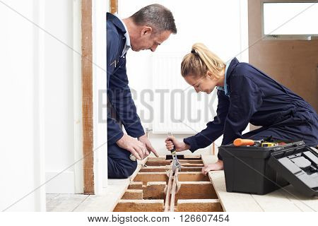 Plumber And Apprentice Fitting Central Heating In House