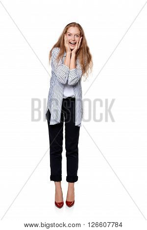 Happy laughing female in full length over white background