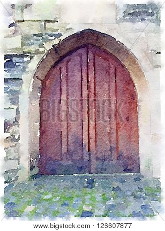 Digital watercolor of an old wooden cathedral door in Bristol in the UK.