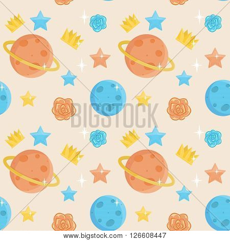 Seamless cute little prince pattern ornament. Holiday and event decorations, design elements. Roses, planets, stars and crowns.