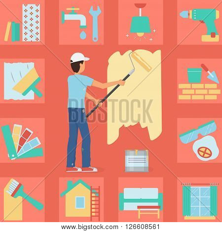 Illustration of a worker man painting a wall with a roller and paint bucket. Bonus: house repair and decoration icon set. Flat minimalistic style.