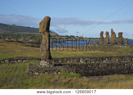 Ahu Tahai. Ancient Moai statues on the coast of Rapa Nui (Easter Island)