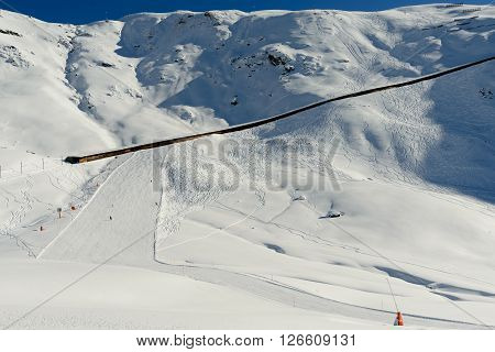 Zermatt Switzerland -The train track of the Gonergratbahn running to the Gornergrat station in the famous ski resort of Zermatt.