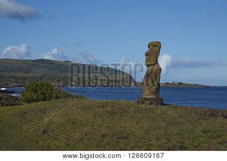 Hanja Kio. Ancient Moai statue on the coast of Rapa Nui (Easter Island)