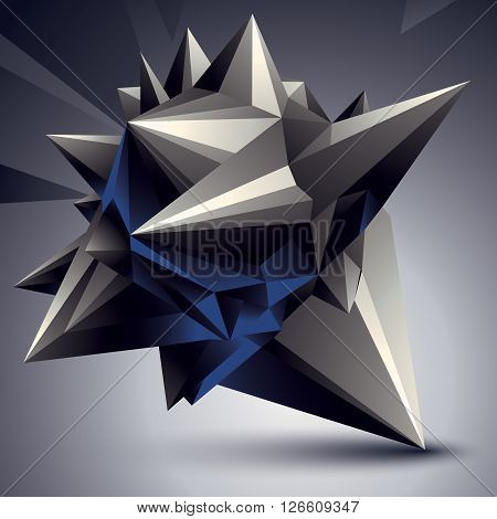 Vector Complicated 3D Figure, Modern Digital Technology Style Form. Abstract Unusual Background.