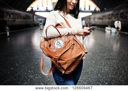 Wanderlust Backpacker Casual Passenger Transport Concept