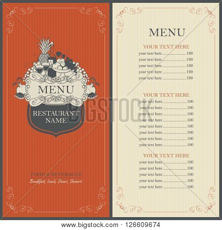 Frame menu with floral ornaments in Baroque vintage style