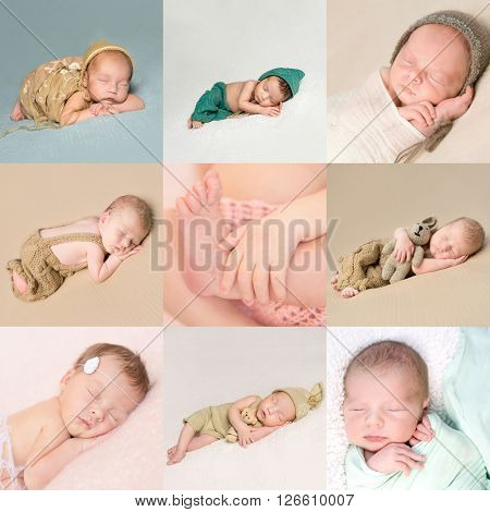 beautiful sweet sleeping newborn babies collage