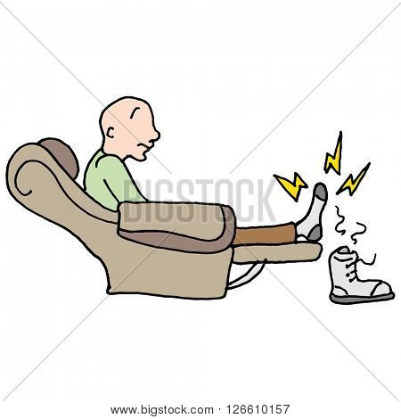An image of a man with a sore entire feet sitting in a chair.
