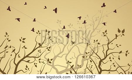 Horizontal illustration of forest with tree branches and birds.