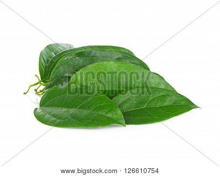 green leaves Ya-Nang on white background food
