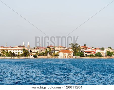 STONE TOWN ZANZIBAR - MARCH 29 2016: Stone Town on Zanzibar seen from the ferry from Dar es Salaam.