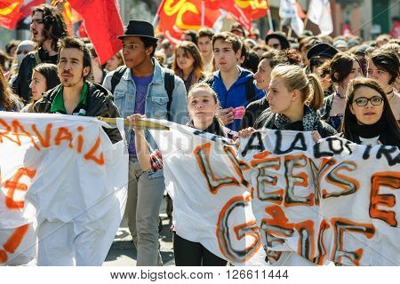 STRASBOURG FRANCE - APR 20 2016: Closed central street as hundreds of people demonstrate as part of nationwide day of protest against proposed labor reforms by Socialist Government
