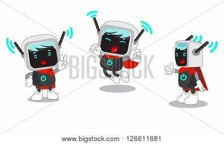 Cartoon Mascot Illustration Of A Computer And Wireless Internet. Vector Set On White Background. Mascot Computer Services. Mascot Computer Game. Mascot Computer Costume. Giving A Thumbs Up.