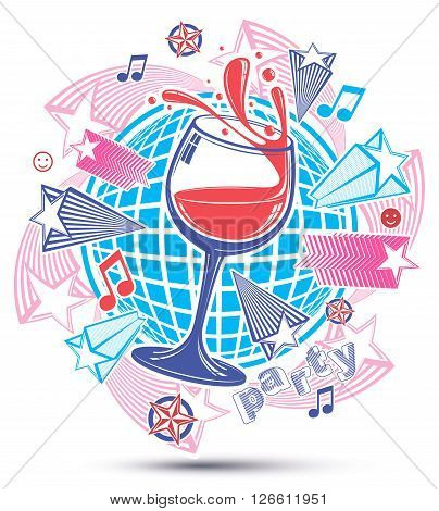 Celebrative leisure backdrop with musical notes and salute, lounge theme poster. Glass goblet with wine placed over earth symbol.
