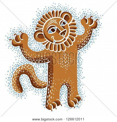 Vector drawing of happy orange lion holding its paws up. Illustration of cute wild animal cool mascot can be used in graphic design.