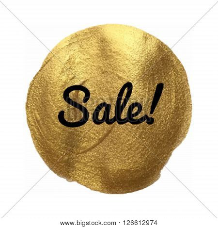 Sale Vector Quote Hand Drawn Illustration Icon Card Isolated Paint Hand Drawn Gold