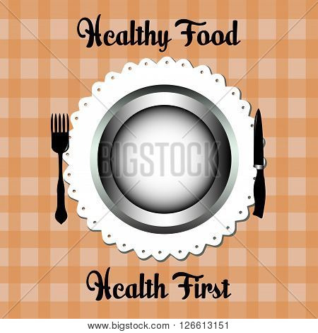 Abstract colorful illustration with fork, knife and plate. Healthy food concept