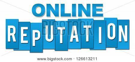 Online reputation text alphabets over blue background.