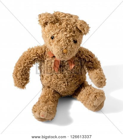 Old Plush Brown Teddy Bear Wearing A Bow-tie