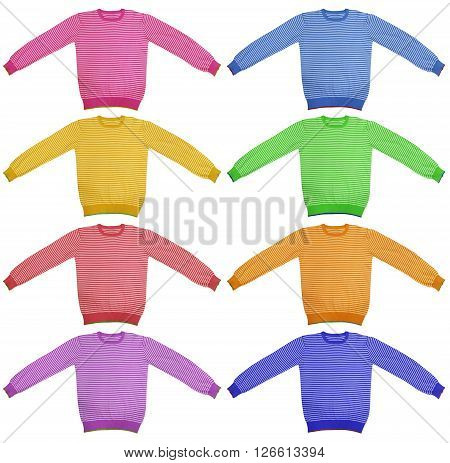Colorful striped long sleeve t-shirt isolated on white.
