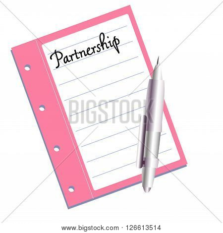 Isolated pink notebook with the text partnership written on the first page