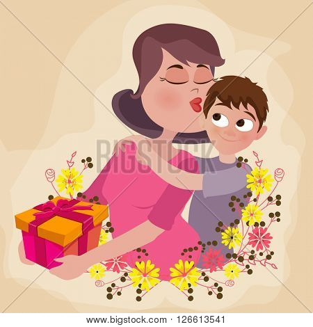 Illustration of cute son giving gift to his mom on occasion of Happy Women's Day celebration.