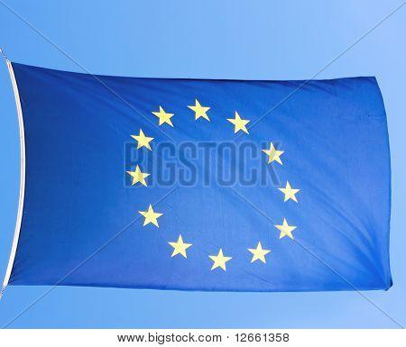 european eu flag on a blue sky close-up