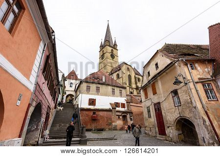 SIBIU, ROMANIA - MARCH 2016: Sibiu city streets in Romania on 8th of March in Sibiu, Romania