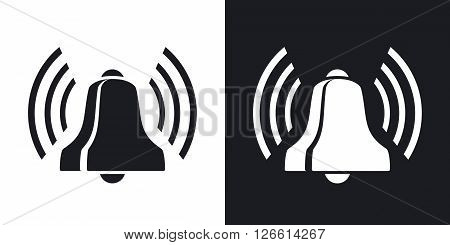 Bell icon stock vector. Two-tone version on black and white background