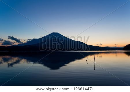 Fuji and lake at sunset