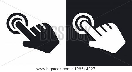 Click hand cursor icon vector. Two-tone version on black and white background