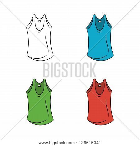Set of colorful t-shirts on a white background - stock vector