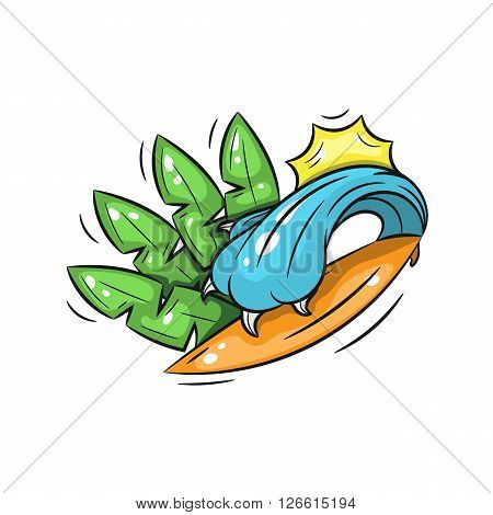 surfing. wave in the form of predator paw covers a surfboard against a background of palm leaves and the sun. illustration on a white background - stock vector
