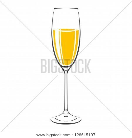 Glass Of Champagne  Icon. Isolated On White Background. Vector Illustration