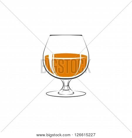 Glass Of Whiskey Icon. Isolated On White Background. Vector Illustration