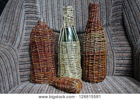 glass bottle weave flexible rods preapre for save wine and oil
