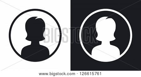 Female user icon vector illustration. Two-tone version on black and white background