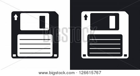 Floppy disk vector icon. Two-tone version on black and white background