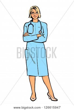 Young girl physician. Physician Specialist. Serious doctor. Doctor warns. Doctor stands. Woman doctor -gynecologist, neurologist. Cardiologist doctor.  doctor. Sketch illustration